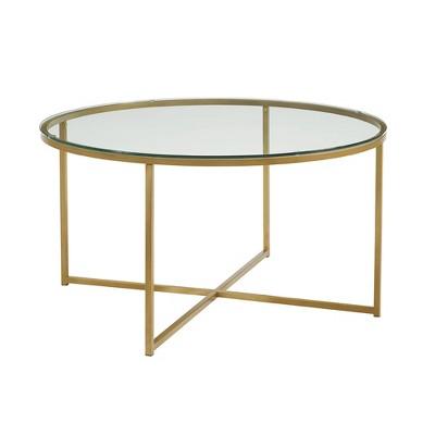 vivian glam x leg round coffee table faux marble glass gold saracina home
