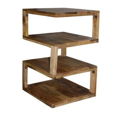 etagere stacked cube design mango wood end side table with 3 shelves brown the urban port