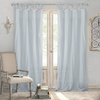 jolie semi sheer tie top window curtain panel 52 x 108 soft blue elrene home fashions