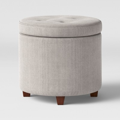 round tufted storage ottoman gray textured weave threshold