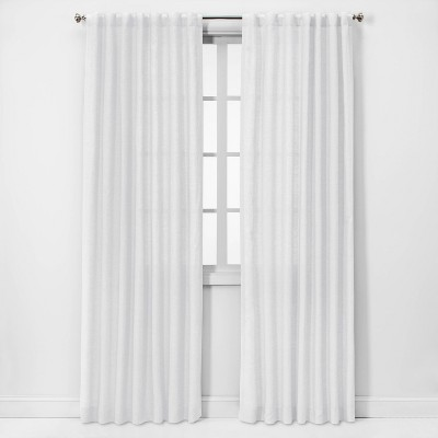 108 x54 light filtering linen curtain panel white threshold