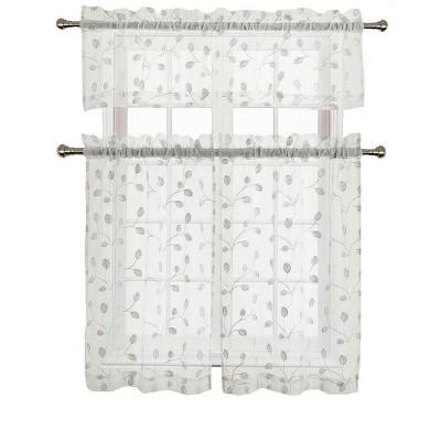 goodgram adler metallic embroidered leaves sheer kitchen curtain set 58 in w x 36 in l white