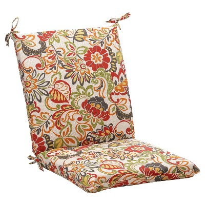 outdoor chair cushion green off white red floral