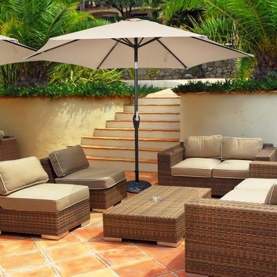 costway 10ft outdoor market patio table umbrella push button tilt crank lift beige