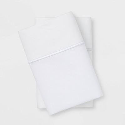 standard 1000 thread count solid pillowcase set true white threshold signature