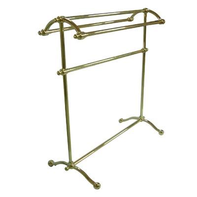 vintage pedestal towel rack polished brass kingston brass