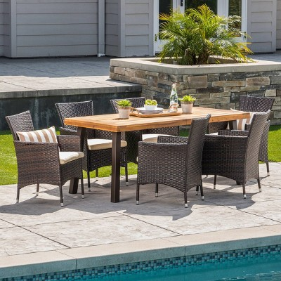 tustin 7pc acacia wood and wicker dining set brown beige christopher knight home
