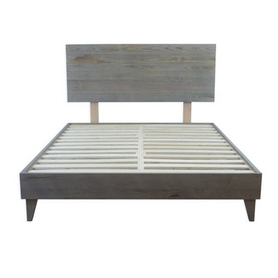 eluxury barnwood platform bed frame and headboard king