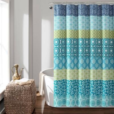 bohemian stripe shower curtain blue green lush decor