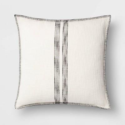 oversize woven striped square throw pillow cream black threshold