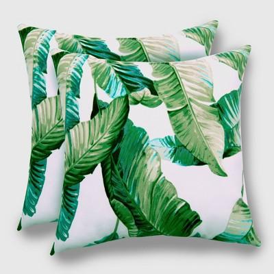 2pk vacation tropical outdoor throw pillows duraseason fabric green threshold