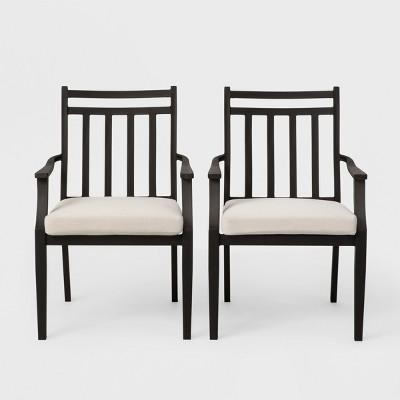 fairmont 2pk stationary patio dining chair linen threshold
