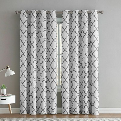 regal home 2 pack hunter blackout gray white trellis window curtains 52 in w x 84 in l