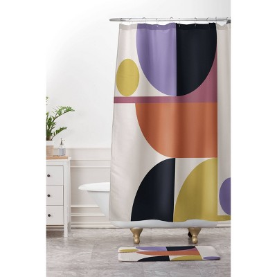 color poems mid century modern abstract shower curtain deny designs