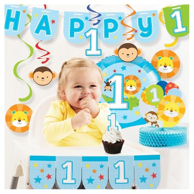 One Is Fun Boy 1st Birthday Party Decorations Kit Target