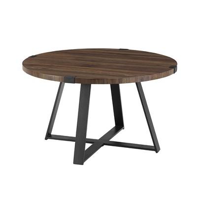 30 round urban industrial wood and steel coffee table dark walnut saracina home