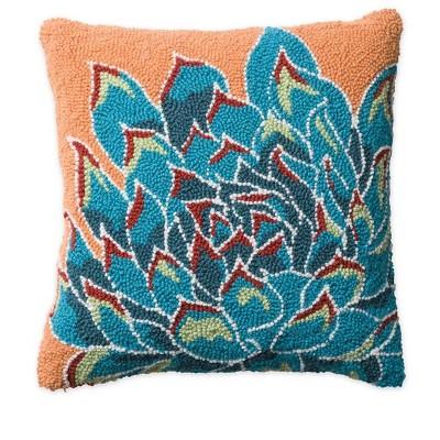 vivaterra succulent hand hooked wool pillow blue