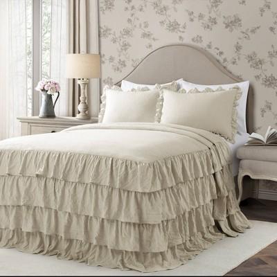 2pc twin twin xl allison ruffle skirt bedspread set neutral lush dcor
