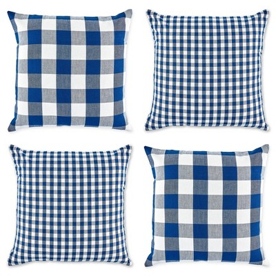 4pk 18 x18 gingham buffalo check assorted square throw pillow covers navy off white design imports