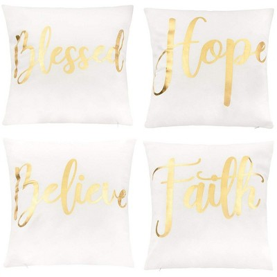 juvale throw pillow covers 4 pack decorative couch throw pillow cases for girls woman white cover gold foil lettering design cushion covers 17x17