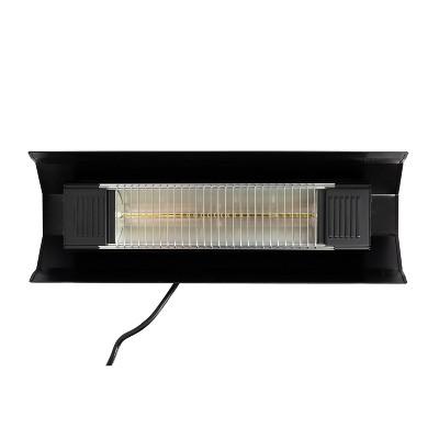 black steel wall mounted infrared patio heater fire sense