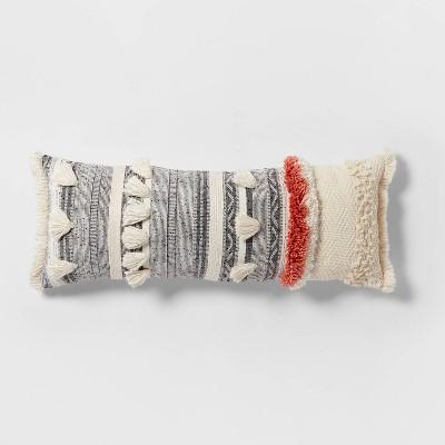 tufted multi fringe oversized lumbar pillow cream opalhouse