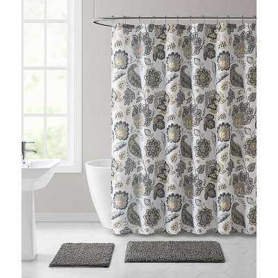 kate aurora shabby chic yellow gray floral paisley fabric shower curtain standard size