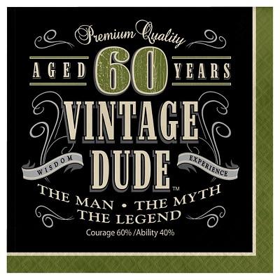 16ct Vintage Dude 60th Birthday Napkins Target