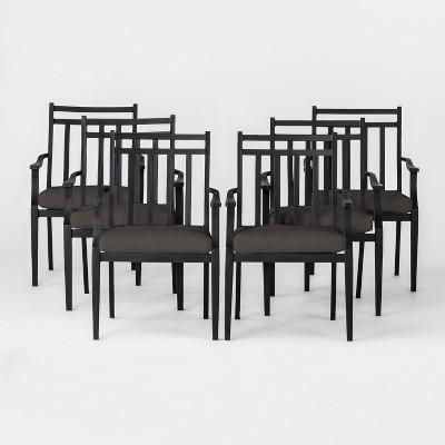 fairmont 6pk metal patio dining chair w cushion charcoal threshold