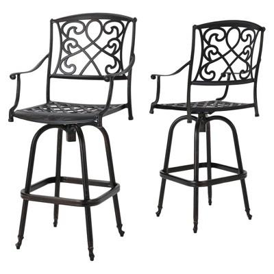 santa maria set of 2 cast aluminum patio bar stools shiny copper christopher knight home