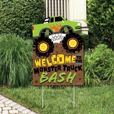 Big Dot Of Happiness Smash And Crash Monster Truck Party Decorations Boy Birthday Party Welcome Yard Sign Target