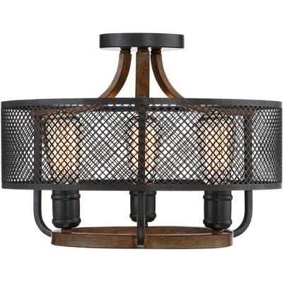 franklin iron works farmhouse ceiling light semi flush mount fixture black mesh wood 16 wide 3 light for bedroom kitchen hallway
