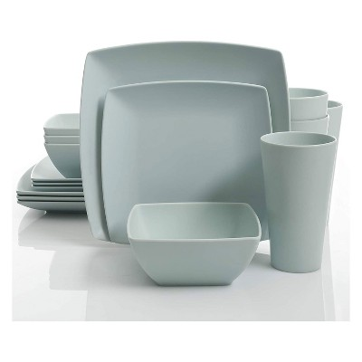 gibson 99898 16r home soho grayson square melamine everyday 16 piece reactive glaze dinnerware set plates bowls and cups dishwasher safe mint