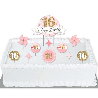 Big Dot Of Happiness Sweet 16 16th Birthday Party Cake Decorating Kit Happy Birthday Cake Topper Set 11 Pieces Target