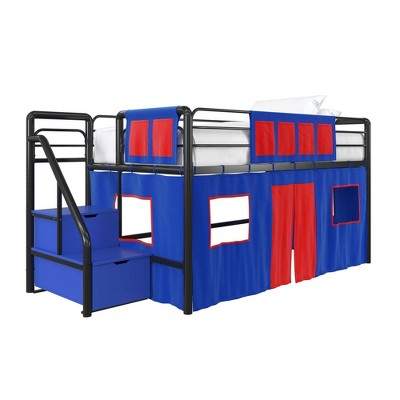 kids junior metal loft bed with storage steps and curtain set black blue room joy