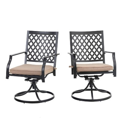 2pc outdoor metal swivel rocking chairs with cushions captiva designs