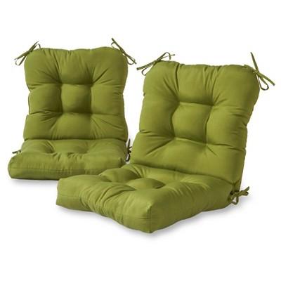 set of 2 solid outdoor seat back chair cushions hunter kensington garden