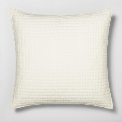 euro solid texture stripe pillow sham sour cream hearth hand with magnolia