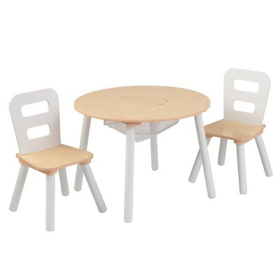 round table and 2 chair set white natural kidkraft