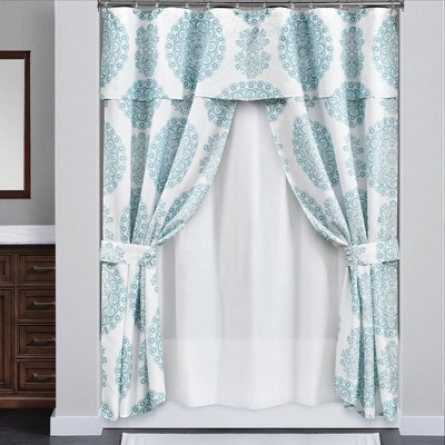 16pc evelyn medallion double swag shower curtain with peva lining and rings set blue lush decor