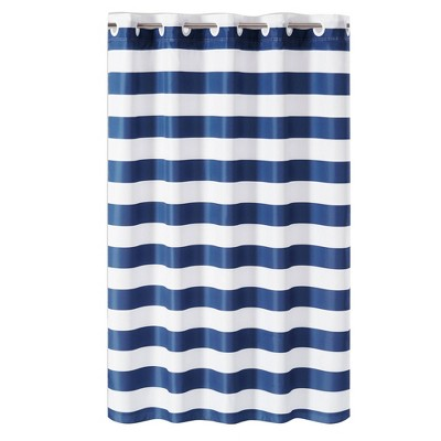 cabana stripe shower curtain with liner blue white hookless