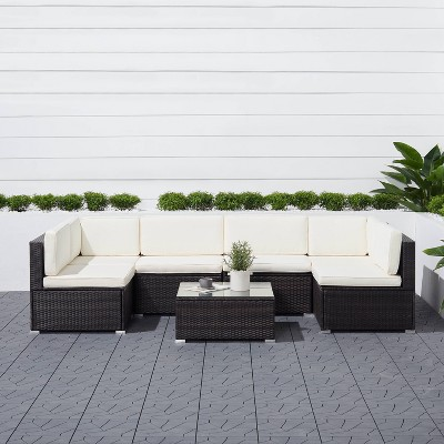 venice 6pc classic outdoor wicker sectional sofa with seat and back cushion black vifah