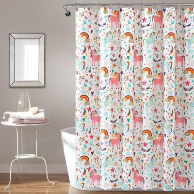 72 x72 unicorn heart shower curtain white lush decor