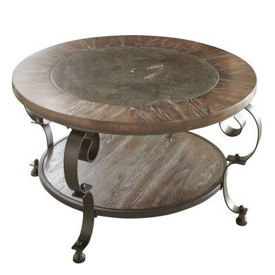 mulberry round cocktail table distressed wood and metal steve silver