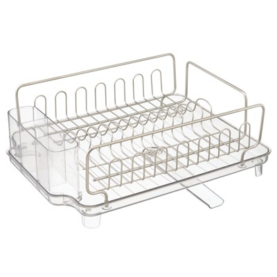 mdesign large kitchen dish drying rack drainboard swivel spout satin clear