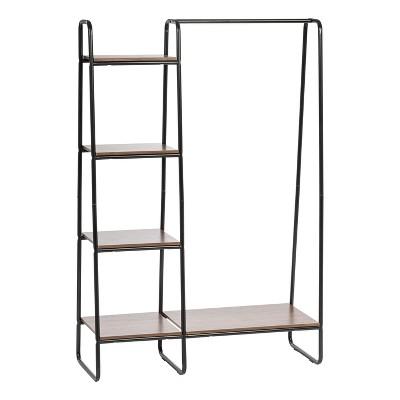iris metal garment rack with wood shelves black