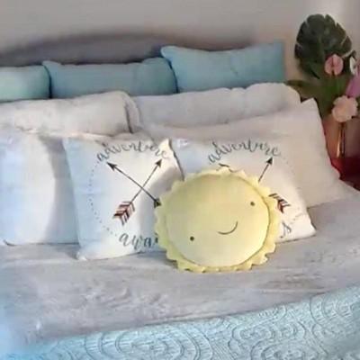 throw pillow cloud island sunshine yellow