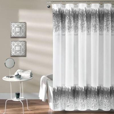 single shimmer sequins shower curtain white black lush decor