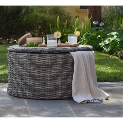 vallauris wicker outdoor storage coffee table gray adore decor