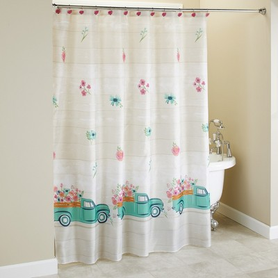 lakeside spring truck shower curtain with vintage truck floral print